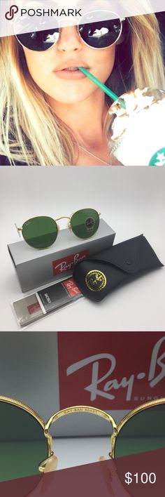 Rayban 3447 Dark Green Gold Round Sunglasses Ray-Ban RB3447 Women's Sunglasses Round Sunglasses Authentic NWT,case and box included Model: RB 3447 001 50-21 Frame Material: Metal Frame Color: Gold Lenses: Green Classic G-15(Dark Green) Shape: Round Size lens-bridge: 50-21mm(standard) 100% UV Protection Made in Italy Fast shipping on next business day usually  Offers Welcome! Ray-Ban Accessories Sunglasses