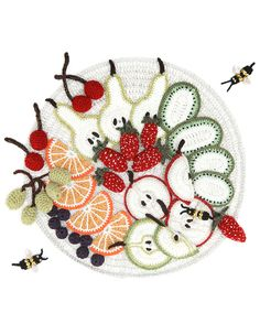 ao with <3 / all crochet plate with crochet fruits and crochet bees / Cardigan - Kate Jenkins