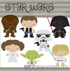 Star Wars Digital Clip Art Set -Personal and Commercial- Yoda, Darth Vader, Han Solo, Storm Trooper, Princess Leia, via Etsy