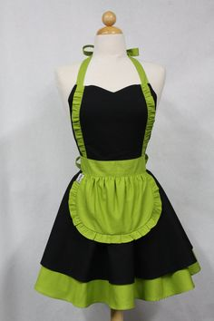 Apron French Maid Solid Black with Lime Green Double by Boojiboo, $38.75