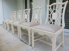 Set Of Six Mid-Century Modern Chinese Chippendale Dining Room Chairs. by FLORIDAMODERN on Etsy