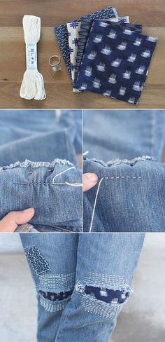 a769ebc65f How to mend repair denim using Japanese sashiko embroidery and fabric  patches. This is a great idea