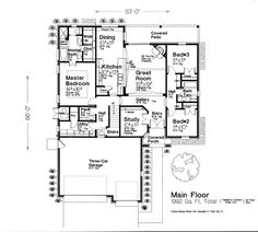 Tudor House Plan 66261 Level One