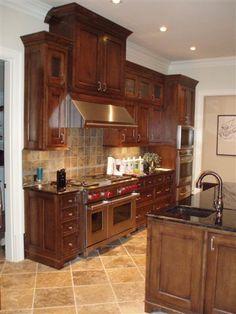cabinet color and stone backsplash
