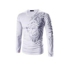 12fdf2a40b Men s T-shirt O-Neck Long Sleeves Slim Dragon Prints T-Shirt Man