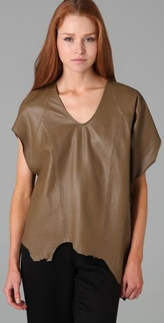 Helmut Lang Leather Asymmetrical Top