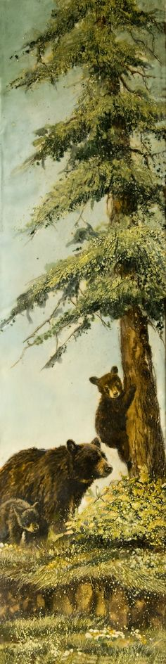 """""""Mama Bear and Cubs"""" 6""""x24"""" Encaustic on panel"""