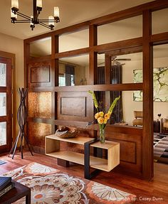 wall divider idea for between the entry and dining