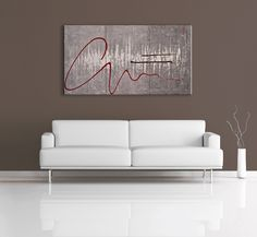 Great for the modern home, this grey, white and red painting is a noticeable feature piece. Find it here: http://www.nicolenicholasart.com/collections/gallery/products/mirage-abstract-painting  $425 CAD