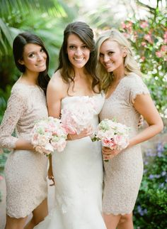 Ivory & lace bridesmaid dresses