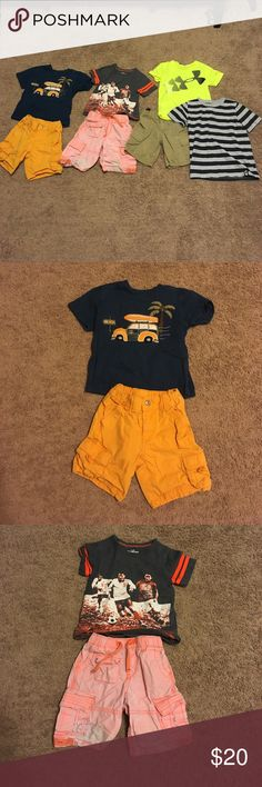Boys 2t lot. Baby Gap orange shorts, worn/faded as pictured, Osh Kosh soccer shirt, Tommy Hilfigee khakis, 2 Gymboree shirts, 1 Under Armor shirt. All items stain free except light orange shorts as shown (baby Gap). Combine with other items in my closet - all reasonable offers considered, as I'm moving soon and clearing closets. Gymboree Matching Sets