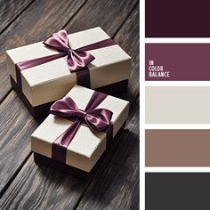 Dark chocolate, taupe color, tint, cocoa and milk, silver-beige color and eggplant. Universal color combination for packing gifts: a light box, tied with a ribbon color of eggplant or plum, can be presented with a stylish accessory, fashion sweater, luxurious dress. This color scheme is well suited for the design of a solid exterior of a country house, because deep warm colors are perfectly combined with natural materials.