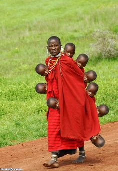 Masai Woman with Lots of Children