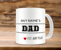 Personalized Mug  Any Name's  Dad  Ideal For Fathers by MugandMore