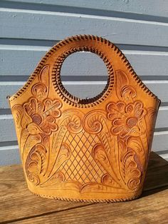 Vintage 1950s Tooled Leather Purse Mexican Tourist Bucket Style 2014437