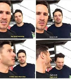 In which Seb thinks stating the (wrong) time means saying Good Morning. His face in the last one. Oh Seb. 5 HOURS!! TILL XMAS! #sebastianstan #christmas #SEBASTIANSTANCOMETOAUSTRALIA Credit to owner