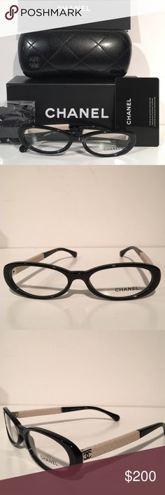 6f6dddc1810 Chanel CH3227Q 501 Black White Oval Eyeglasses NEW Brand New In Case With  cleaning cloth