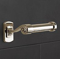 TP Holder (all of the bathroom hardware is from the Campaign collection from Restoration Hardware in polished nickel) Bathroom Hardware, Bathroom Fixtures, Bathrooms, Hall Bathroom, Tissue Paper Holder, Home Furnishing Stores, Bath Girls, Guest Bath, Bath Accessories