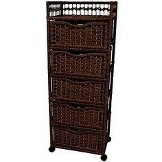 Oriental Furniture Excellent Quality Rattan Look Extra Tall Nightstand End Table, Natural Fiber Chest of Drawers on Wheels, Mocha 5 Drawer Storage, Rolling Storage, Storage Baskets, Storage Chest, Storage Hacks, Bag Storage, Drawers On Wheels, Tall Nightstands, Dressers