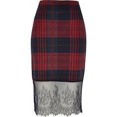 Red check lace hem pencil skirt