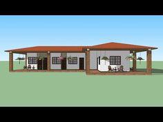 Casa estilo colonial, campestre - YouTube My House Plans, Cottage House Plans, Cottage Homes, Home Building Design, Home Design Plans, Building A House, Hacienda Style Homes, Patio Design, House Design