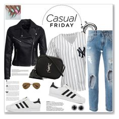 """""""Casual friYAY"""" by brunna006 on Polyvore featuring New Look, Majestic, Dolce&Gabbana, adidas, Yves Saint Laurent and Ray-Ban"""