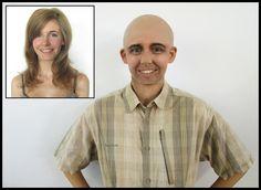 Transformismo de una mujer a un hombre empleando técnica de envejecimiento, carne artificial y calva de glatzan