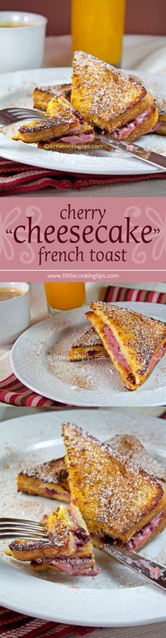 "A delicious idea for breakfast. This an ideal recipe for Valentine's and anniversaries; A juicy, rich and yummy French toast filled cherry ""cheesecake"" cream. Easy to make yet so fancy!   Repin to your own inspiration board! #breakfast #recipe #cheesecake #French #toast"