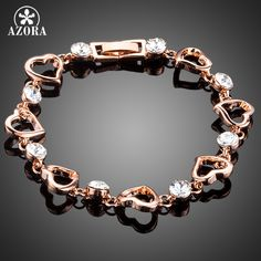 AZORA Romantic Valentine's Day Gift With Rose Gold Plated Clear Stellux Austrian Crystal Heart Bracelet TS0136
