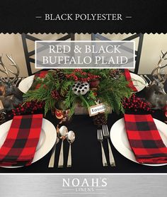 Red & Black Buffalo Plaid | Rent NOAH'S Linens for your upcoming holiday parties and events! | Black Polyester Tablecloth | www.NOAHSLinens.com