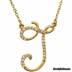14k Yellow Gold Jazzy J Initial Diamond Necklace #Diamond Necklace #fashion #style #shopping - Fashion Jewelry - http://ijewelryfashion.com/14k-yellow-gold-jazzy-j-initial-diamond-necklace