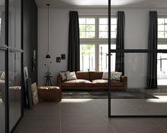 Salón. Pavimento porcelánico de gran formato (100 x 100 cm.). Imagen 3D fotorrealista. actua.es