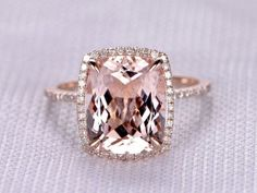 4 to 5 Carat Cushion Morganite Ring 14k Rose gold diamond Engagement Ring Stacking band Halo Claw Prongs