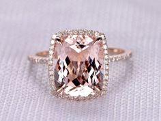 4 to 5 Carat Cushion Morganite Ring 14k Rose gold diamond Engagement Ring Stacking band Halo Claw Prongs