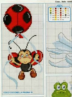 Lady bug x-stitch Cross Stitch For Kids, Cute Cross Stitch, Cross Stitch Animals, Cross Stitch Charts, Cross Stitch Designs, Cross Stitch Patterns, Cross Stitching, Cross Stitch Embroidery, Frog Crafts