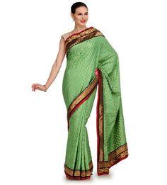Pista Green Chanderi Jacquard Saree | Fabroop USA