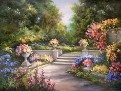 Diamond Painting Stairs in the Garden Kit Beautiful Paintings, Beautiful Landscapes, Beautiful Gardens, Garden Painting, Garden Art, Pictures To Paint, Art Pictures, Life Pictures, Landscape Paintings