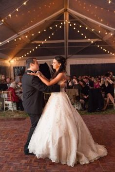First Dance under Tent and Cafe Lights | Woodlawn Farm, Maryland Wedding | Birds of a feather Photography