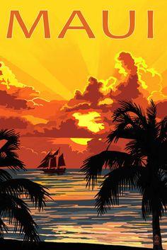Sunset & Ship - Maui, Hawaii -