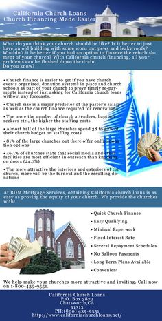 Church size is a major predictor of the pastor's salary as well as the church finance required for renovations.Log on http://www.californiachurchloans.net/