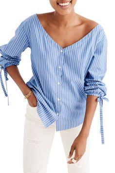 Morningview Stripe Tie Sleeve Shirt by Madewell on @nordstrom_rack