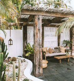 outdoor cactus garden and covered patio. / sfgirlbybay