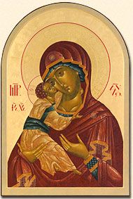 This is my favorite icon and this is a beautiful example.  Mary is so aware of what the future holds and the Christ child seems compassionate but resolute.