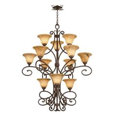 Kalco Amelie 12 Light Shaded Chandelier Finish: Tortoise Shell, Shade Type: Gold-streaked Amber