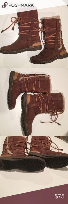 Ugg's--great condition! Brown UGG's with wrap around lace up detail.  These are used but in excellent condition and look almost new.  See photos for the great condition! UGG Shoes Winter & Rain Boots