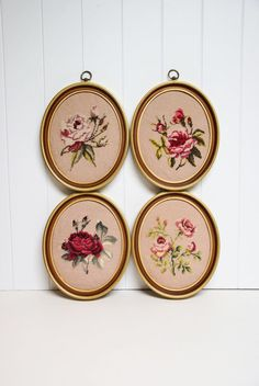 Vintage Needlepoint - Shabby Chic Roses in Oval Frames by speckleddog on Etsy… Cross Stitching, Cross Stitch Embroidery, Cross Stitch Patterns, Valentine Day Gifts, Valentines, Embroidery Designs, Thick Yarn, Crochet Cross, Silk Ribbon Embroidery