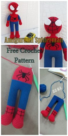 plus Amigurumi Spiderman Free Crochet Pattern - Crochet. Crochet Amigurumi Free Patterns, Crochet Doll Pattern, Baby Knitting Patterns, Crochet Dolls, Free Crochet, Crochet Baby, Knit Crochet, Spiderman, Crochet For Boys