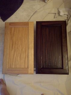 Misadventures in DIY: Staining honey oak cabinets expresso.  A great look even after step 1!