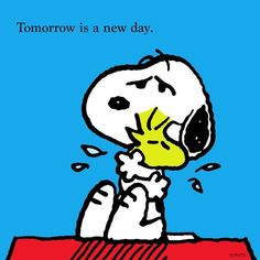 New day, Snoopy, 'Tomorrow is a new day', Peanuts Meu Amigo Charlie Brown, Charlie Brown And Snoopy, Peanuts Cartoon, Peanuts Snoopy, Garfield Cartoon, Peanuts Comics, Snoopy Love, Snoopy And Woodstock, Tomorrow Is A New Day