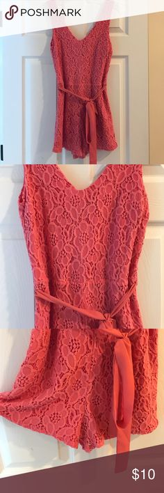 Pink Romper Pink lace romper with tie belt. buttons Pants Jumpsuits & Rompers